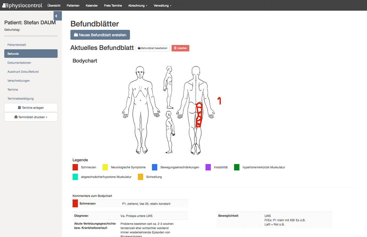 physiocontrol befunde dokumentationen
